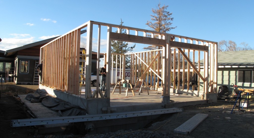 Framing on the garage over the cistern with FSC lumber and American nails.