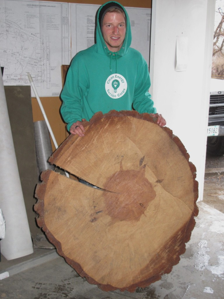 Andrew was enamored by the ponderosa pine memorial plaque. Barb sent him away with a slab of his own for a creative project.