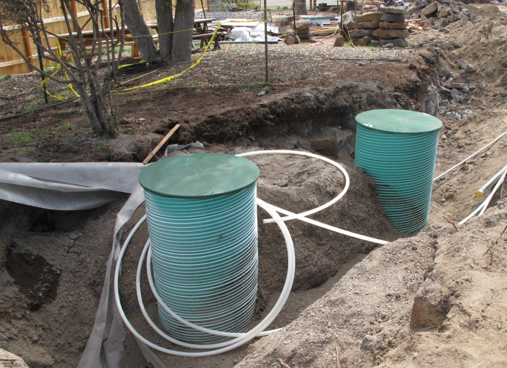 The graywater holding tank will collect the water that has been treated through the wetland. It will then be pumped to a 5,000 gallon holding tank next to the garage to be distributed through irrigation lines for the landscaping.