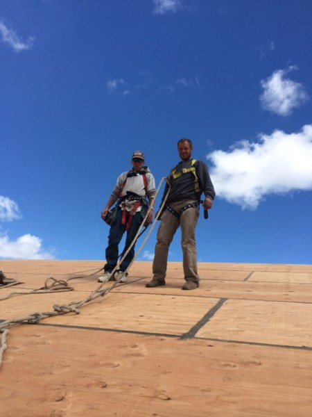 Part of the TAC team - Kenton Lueck and Marvin Raby stalled the Desert Lookout Roof.