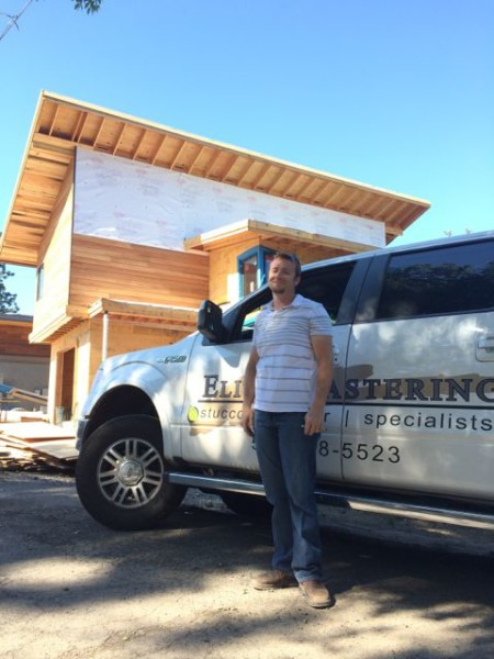 Bill Kaiser from Elite Plastering is on deck. We'll be ready to start the exterior siding soon.