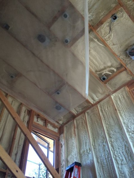 Blow in with spray foam hybrid insulation